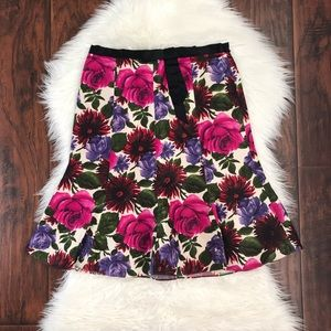 Tibi Fit & Flare Floral Silk Skirt